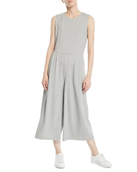 Sleeveless Speckled Knit Jumpsuit, Plus