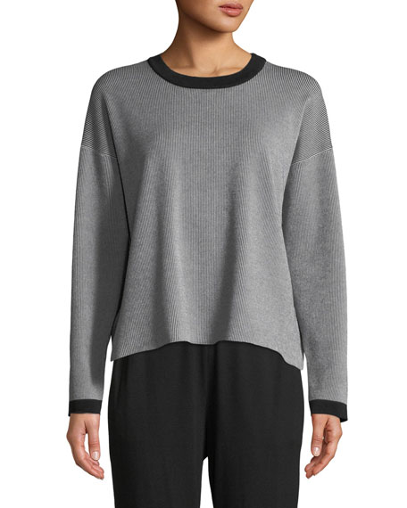 Eileen Fisher Long-Sleeve Vertical Striped Sweater, Petite