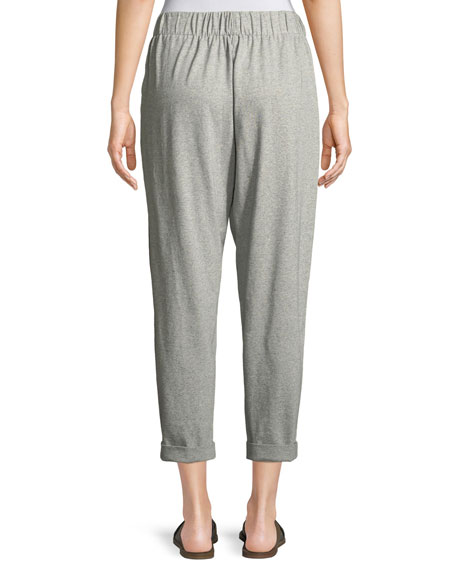 Speckled Knit Slouchy Ankle Pants, Petite