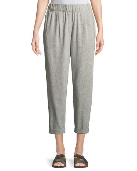 Speckled Knit Slouchy Ankle Pants, Plus Size
