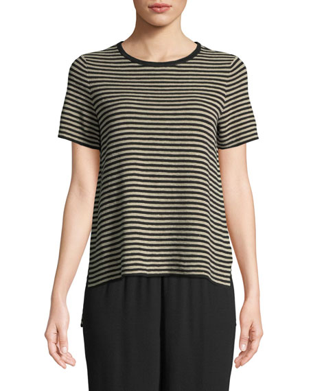 Organic Linen Striped High-Low Sweater, Black