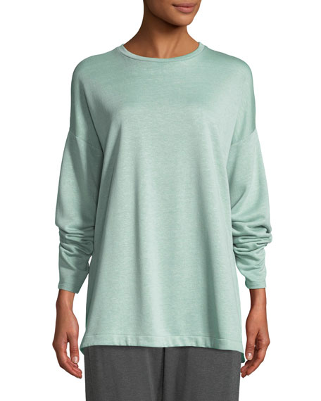 Eileen Fisher Terry Side-Slit Bateau-Neck Top, Petite and