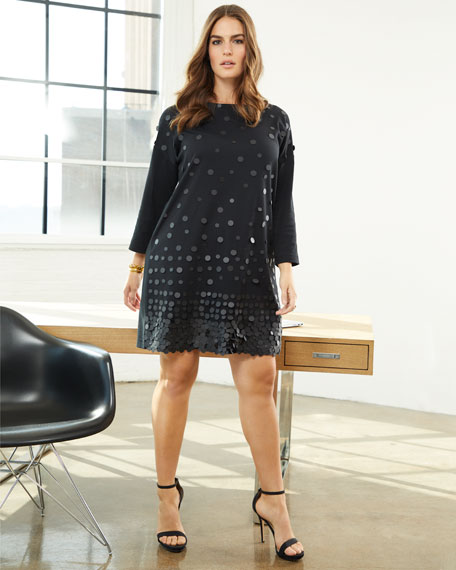 Sequined-Front 3/4-Sleeve Dress, Plus Size