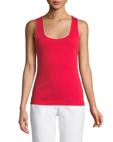 Joan Vass Scoop-Neck Ribbed Tank, Plus Size