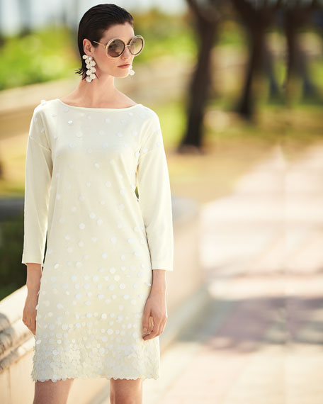Sequined-Front 3/4-Sleeve Dress, Petite