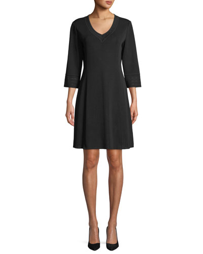 3/4-Sleeve V-Neck A-line Dress, Petite