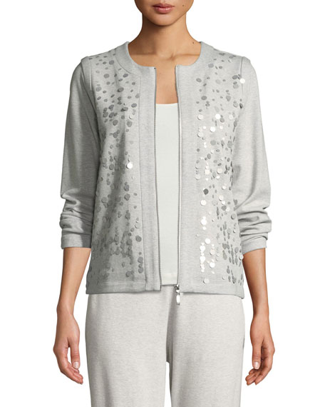 Joan Vass Sequined Zip-Front Knit Jacket, Petite