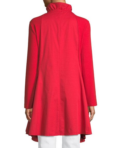 Long-Sleeve Zip-Front Stretch Interlock Jacket, Plus Size