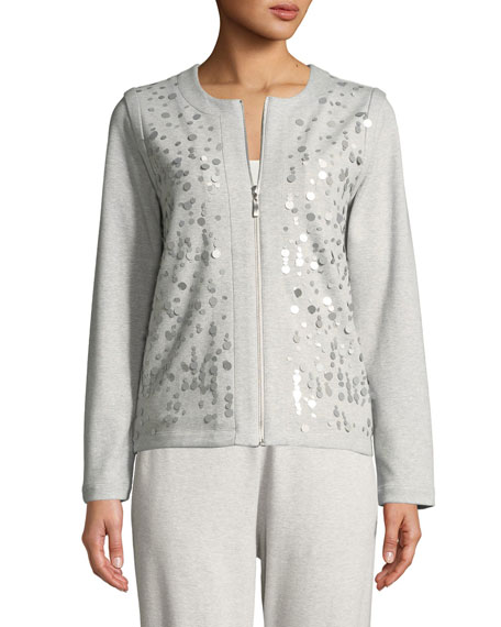 Sequined Zip-Front Knit Jacket, Plus Size