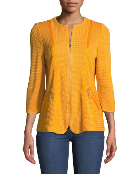 Short Textured Knit Jacket with Zipper Detail, Plus Size