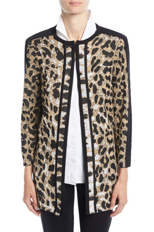 Misook Petite Animal-Print Long Jacket