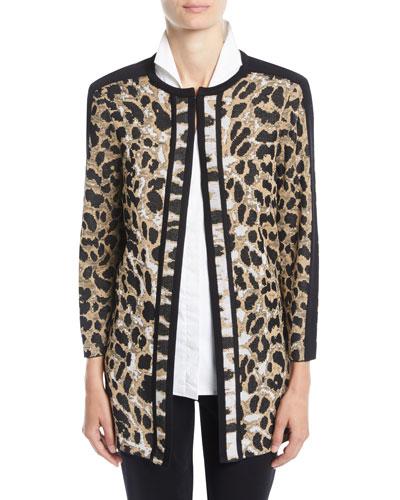 Animal-Print Long Jacket, Petite