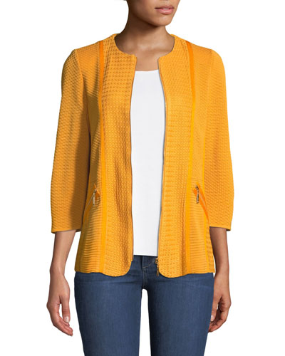 Short Textured Knit Jacket with Zipper Detail, Petite