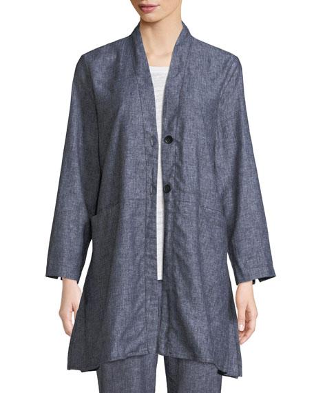 MASAI Jo Herringbone Linen Jacket in Black