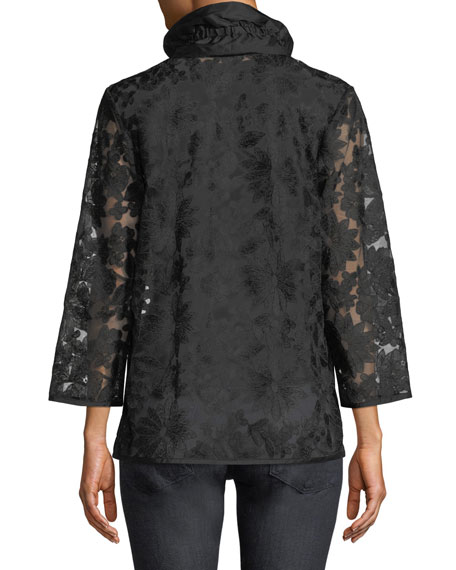 After Hours Floral-Embroidered Jacket, Petite