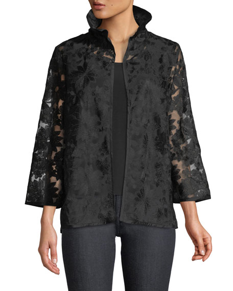 Caroline Rose After Hours Floral-Embroidered Jacket, Petite