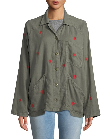 The Field Embroidered Heart Utility Jacket