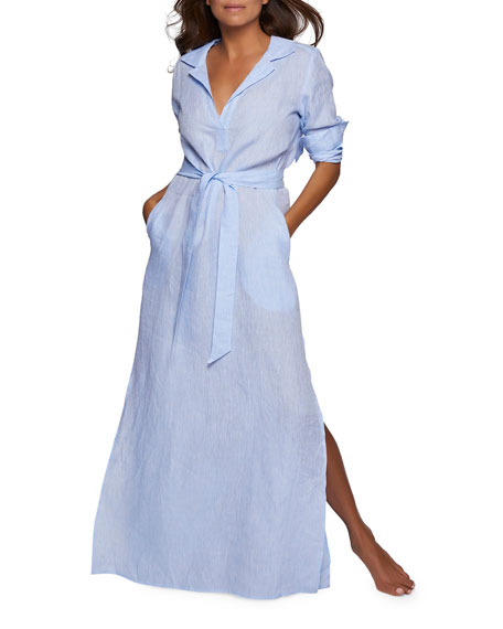 Long-Sleeve Linen Long Lounge Shirt Dress