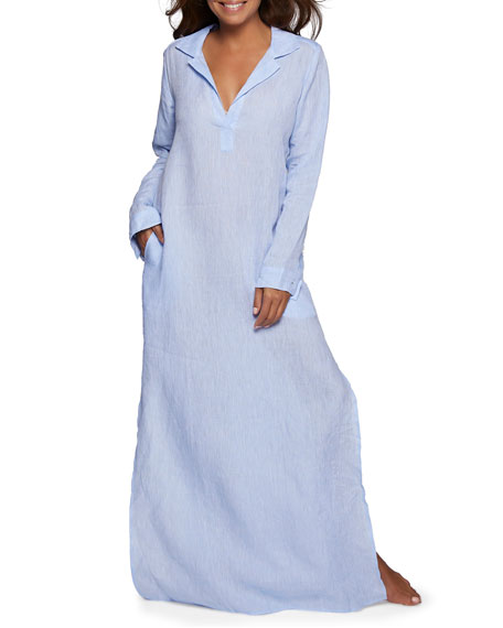 POUR LES FEMMES Long-Sleeve Linen Long Lounge Shirt Dress in Blue