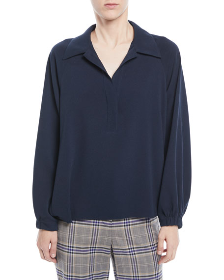 Savanna Collared Easy-Fit Crepe Polo Top, Navy