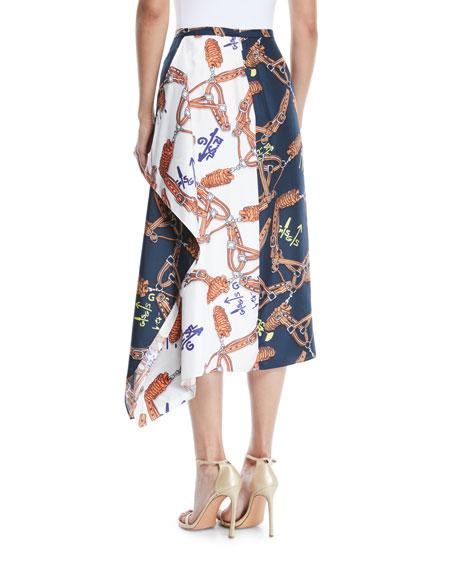 Renzo Scarf-Print Asymmetric Midi Skirt