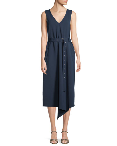 V-Neck Sleeveless Belted Drape Twill Midi Dress