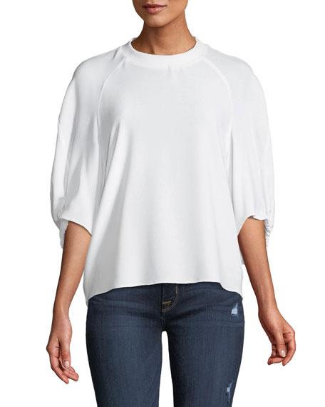 Savannah Crewneck Raglan Shirred-Sleeve Crepe Top