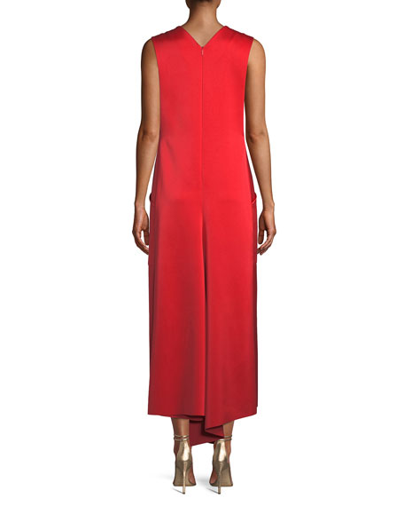 Sleeveless Bonded Satin Long Cocktail Dress