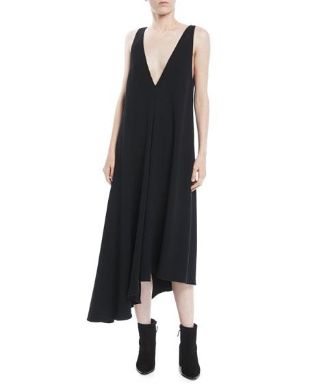 Asymmetric Sleeveless Midi Jumper Dress in Black
