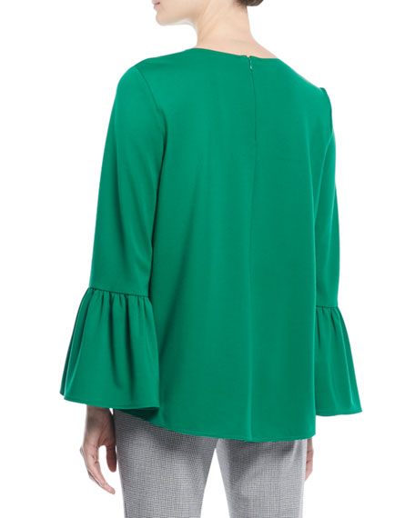 Weston Crewneck Bell-Sleeve Top