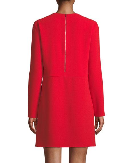 Long-Sleeve Crepe Crewneck Mini Cocktail Dress