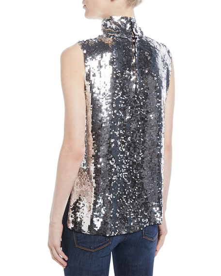 Sleeveless Sequin Turtleneck Shell Top