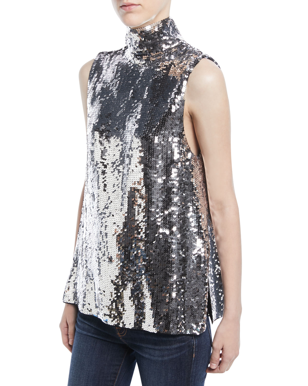 f820765f1ce72 Tibi Turtleneck Sleeveless Sequin Shell and Matching Items ...