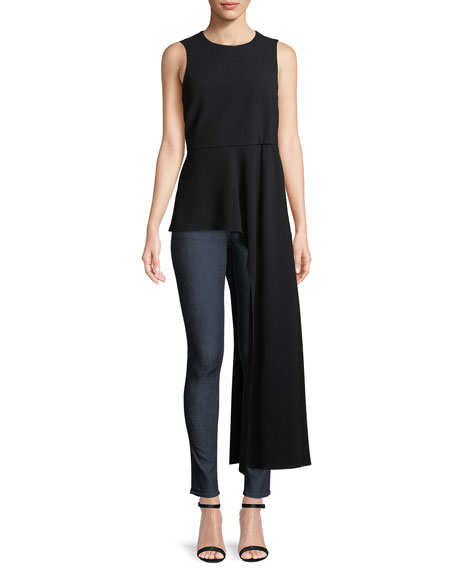 Sleeveless Draped Crewneck Top in Black