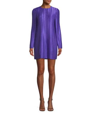 c83bd72787 Tibi Long-Sleeve Jewel-Neck Plisse Mini Cocktail Dress