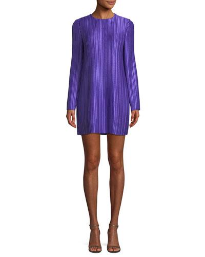 Long-Sleeve Jewel-Neck Plisse Mini Cocktail Dress