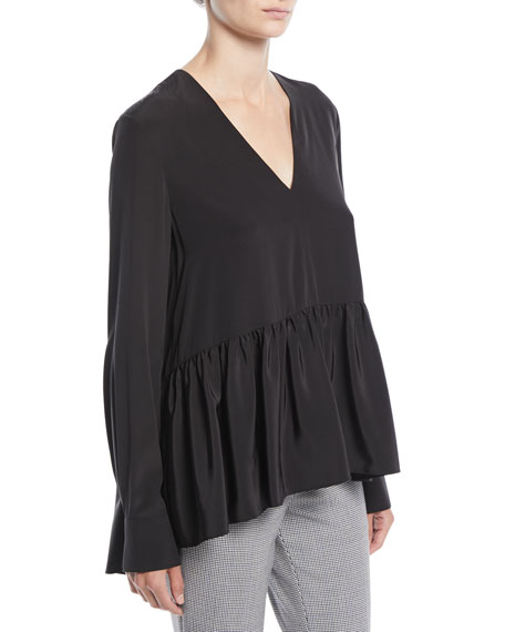 V-Neck Long-Sleeve Silk Crepe de Chine Peplum Top