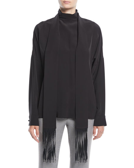 Long-Sleeve Silk Top w/ Fringe Scarf