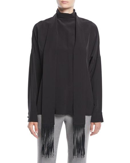 Tibi Long-Sleeve Silk Top w/ Fringe Scarf