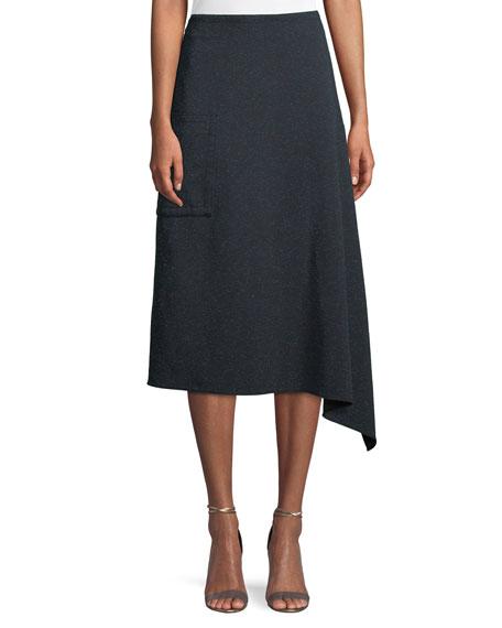 Tibi Eclipse Pique Origami A-Line Midi Skirt