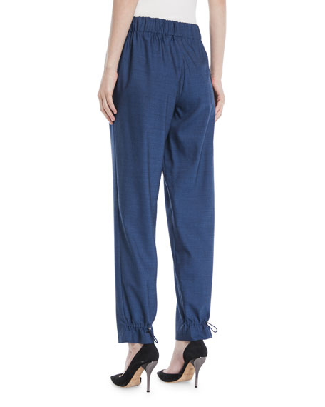 Tropical Wool Wide-Leg Pull-On Pants