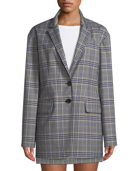 Lucas Plaid Suiting Oversized Single-Breasted Blazer