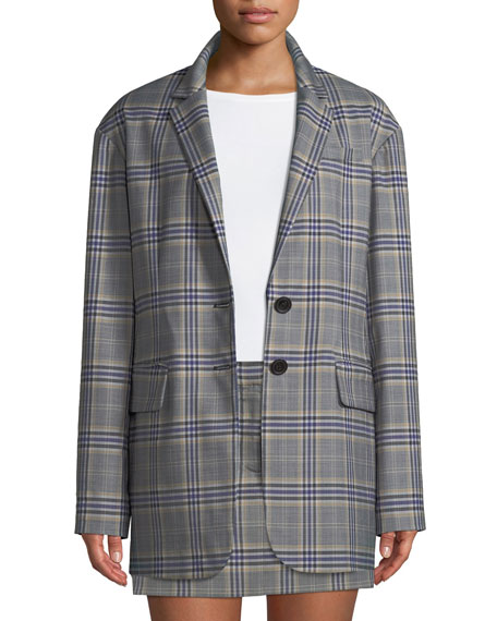 Tibi Lucas Plaid Suiting Oversized Single-Breasted Blazer