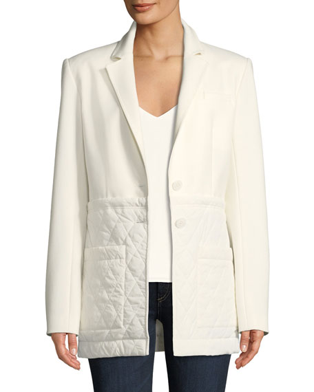 Notched-Lapel Two-Button Quilted Combo Oversized Blazer