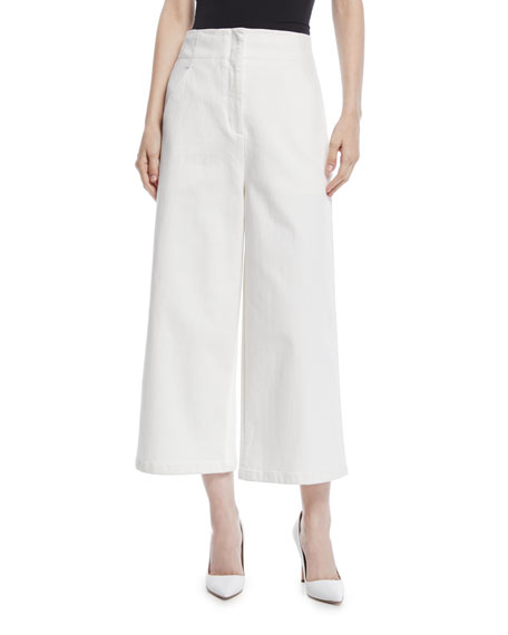Demi Wide-Leg Enzyme Washed Twill Cropped Jeans