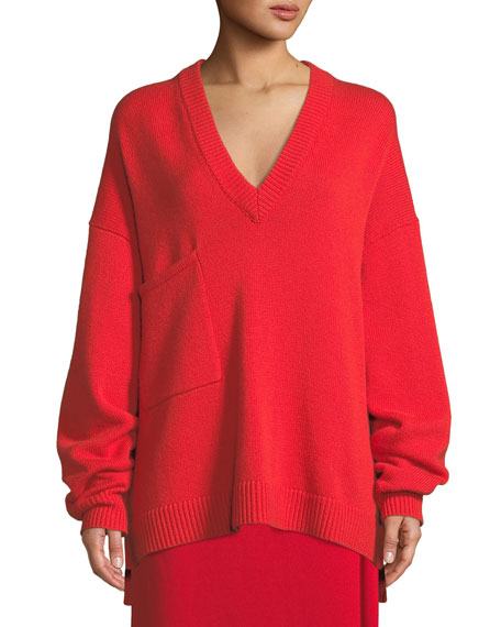 Deep-V Long-Sleeve Oversized Cashmere Sweater W/ Patch Pocket in Red
