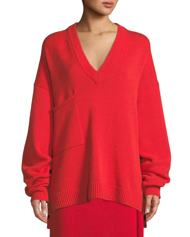 7492d99de2935d Tibi Deep-V Long-Sleeve Oversized Cashmere Sweater w/ Patch Pocket ...