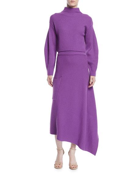 Origami Ribbed Merino Wool Midi Skirt