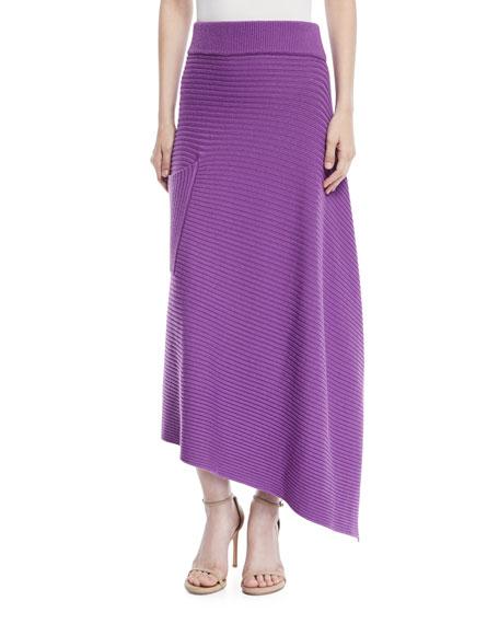 Origami Ribbed Merino Wool Midi Skirt, Purple