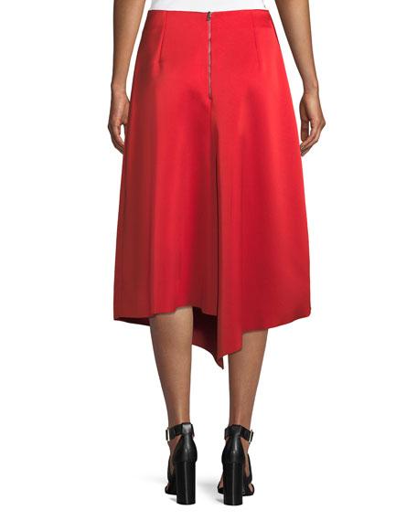 Draped A-Line Satin Midi Skirt